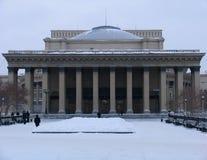 Vista di inverno sul teatro di opera e di balletto di Novosibirsk Immagini Stock