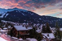 Vista di inverno sulla valle in alpi svizzere, Verbier, Svizzera Immagini Stock Libere da Diritti