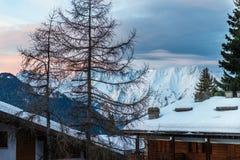 Vista di inverno sulla valle in alpi svizzere, Verbier, Svizzera Fotografie Stock
