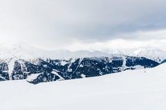 Vista di inverno sulla valle in alpi svizzere, Verbier, Svizzera Immagine Stock Libera da Diritti