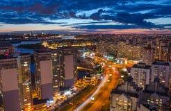 Vista di Kiev di notte Fotografia Stock