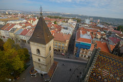 Vista di Kosice dalla torre della cattedrale Fotografie Stock