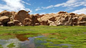 Vista di Laguna Negra ed il paesaggio roccioso del plateau boliviano immagine stock