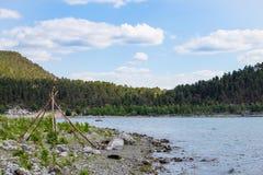 Vista di Lakeside della foresta nel Kazakistan Fotografia Stock Libera da Diritti