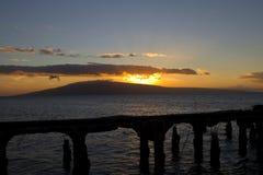 Vista di Lanai da Mala Harbor sulle Hawai Fotografia Stock