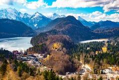 Vista di Landsqape dal castello del Neuschwanstein immagini stock