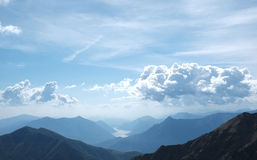 Vista di Lecco e del lago Como Fotografia Stock