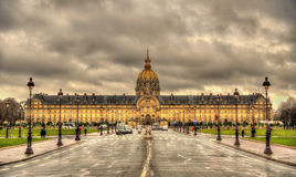 Vista di Les Invalides a Parigi Fotografie Stock