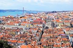 Vista di Lisbona con il ponte nei precedenti Fotografia Stock Libera da Diritti