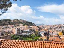 Vista di Lisbona e del castelo de Sao Jorge del castello Fotografie Stock Libere da Diritti