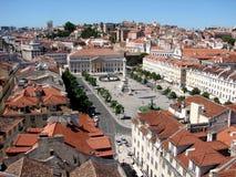 Vista di Lisbona, il quadrato di Rossio Fotografia Stock Libera da Diritti