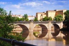 Vista di Logrono Puente da Piedra Fotografie Stock