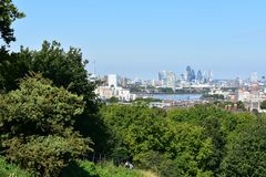 Vista di Londra da Greenwich Immagine Stock