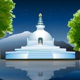 Vista di Lumbini, monastero buddista, vista del lago Immagine Stock Libera da Diritti