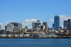 Vista di lungomare della città di Seattle Immagini Stock Libere da Diritti