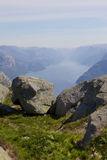 Vista 018 di Lysefjord Fotografie Stock
