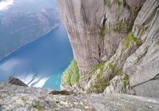Vista di Lysefjord dalla roccia del quadro di comando, Norvegia Immagine Stock