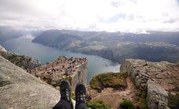 Vista di Lysefjord dalla roccia del quadro di comando, Norvegia Fotografia Stock