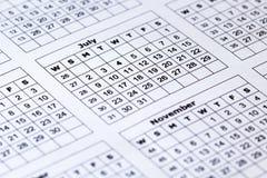 Vista di macro del calendario Carta da parati originale piacevole per voi da tavolino Fotografie Stock Libere da Diritti