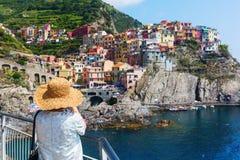 Vista di Manarola, Cinque Terre, Italia Fotografia Stock
