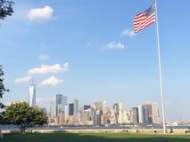 Vista di Manhattan dall'Ellis Island Fotografie Stock Libere da Diritti