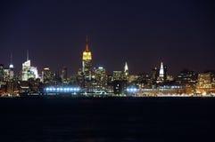 Vista di Manhattan dalla città di Jersy Fotografie Stock Libere da Diritti