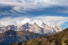 Vista di Marmolada, montagne delle dolomia, Italia Fotografia Stock Libera da Diritti