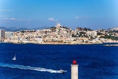 Vista di Marsiglia dal castello sull'isola di se, la Francia Immagine Stock