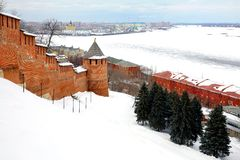 Vista di marzo per port Nizhny Novgorod da Kremlin Immagine Stock