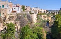 Vista panoramica di Massafra. La Puglia. L'Italia. Immagini Stock
