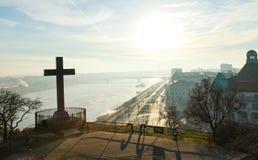 Vista di mattina a Budapest, collina di Gellert Fotografia Stock