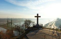 Vista di mattina a Budapest, collina di Gellert Immagine Stock