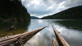 Vista di mattina con un lago della montagna archivi video