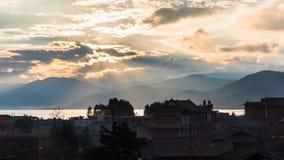Vista di mattina del lago Lugu Fotografia Stock Libera da Diritti