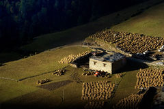 Vista di mattina del villaggio tibetano a Sichuan Cina immagini stock