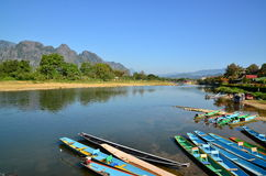 Vista di mattina di Vangvieng, Laos Fotografie Stock Libere da Diritti