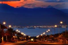 Vista di mattina sul golfo di Aqaba, città di Eilat, Israele Immagini Stock Libere da Diritti