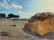 Vista di mattina sulla spiaggia Fotografie Stock Libere da Diritti