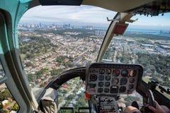 Vista di Miami dalla cabina dell'elicottero Immagine Stock Libera da Diritti