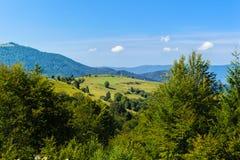 Vista di Montainous nel carpatico Fotografie Stock