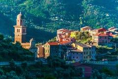 Vista di Montale nella provincia di La Spezia, Liguria, Italia immagini stock libere da diritti