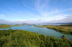 Vista di Myvatn del lago Fotografie Stock