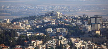 Vista di Nazaret e della valle di Jezreel, Israele Fotografie Stock