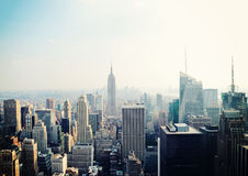 Vista di New York City con Empire State Building Fotografia Stock
