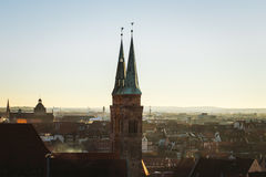 Vista di Norimberga, una città della città in Franconia negli stati federati della germania della Baviera Fotografie Stock