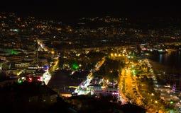 Vista di notte al Alanya Fotografia Stock