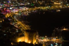 Vista di notte al Alanya Immagine Stock Libera da Diritti