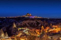 Vista di notte di Cappadocia, Turchia fotografia stock libera da diritti