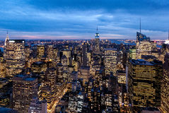 Vista di notte dal centro di Rockefeller Immagini Stock Libere da Diritti