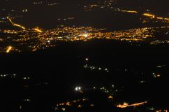 Vista di notte dall'Italia del nord Immagini Stock Libere da Diritti